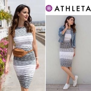 Athleta Black and White Stripe Midi Tank Dress
